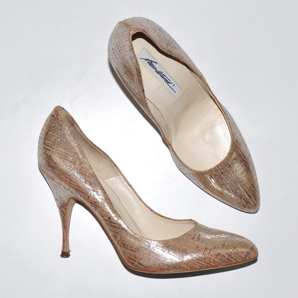 cb404bc3e7f Brian Atwood | Silver Cork Pointed Toe Heels Sz 8